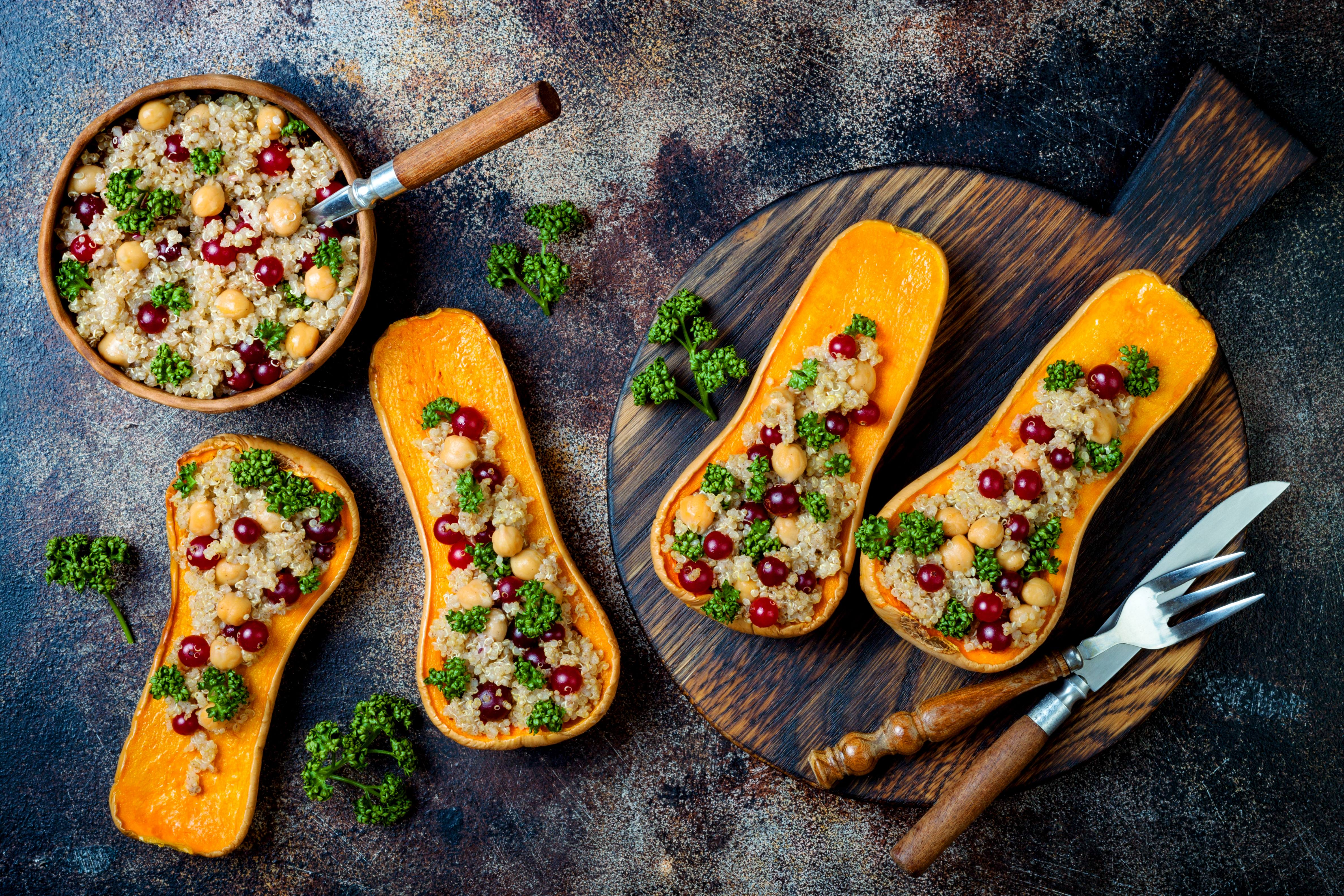 recipe image Roasted butternut squash with quinoa and chickpeas