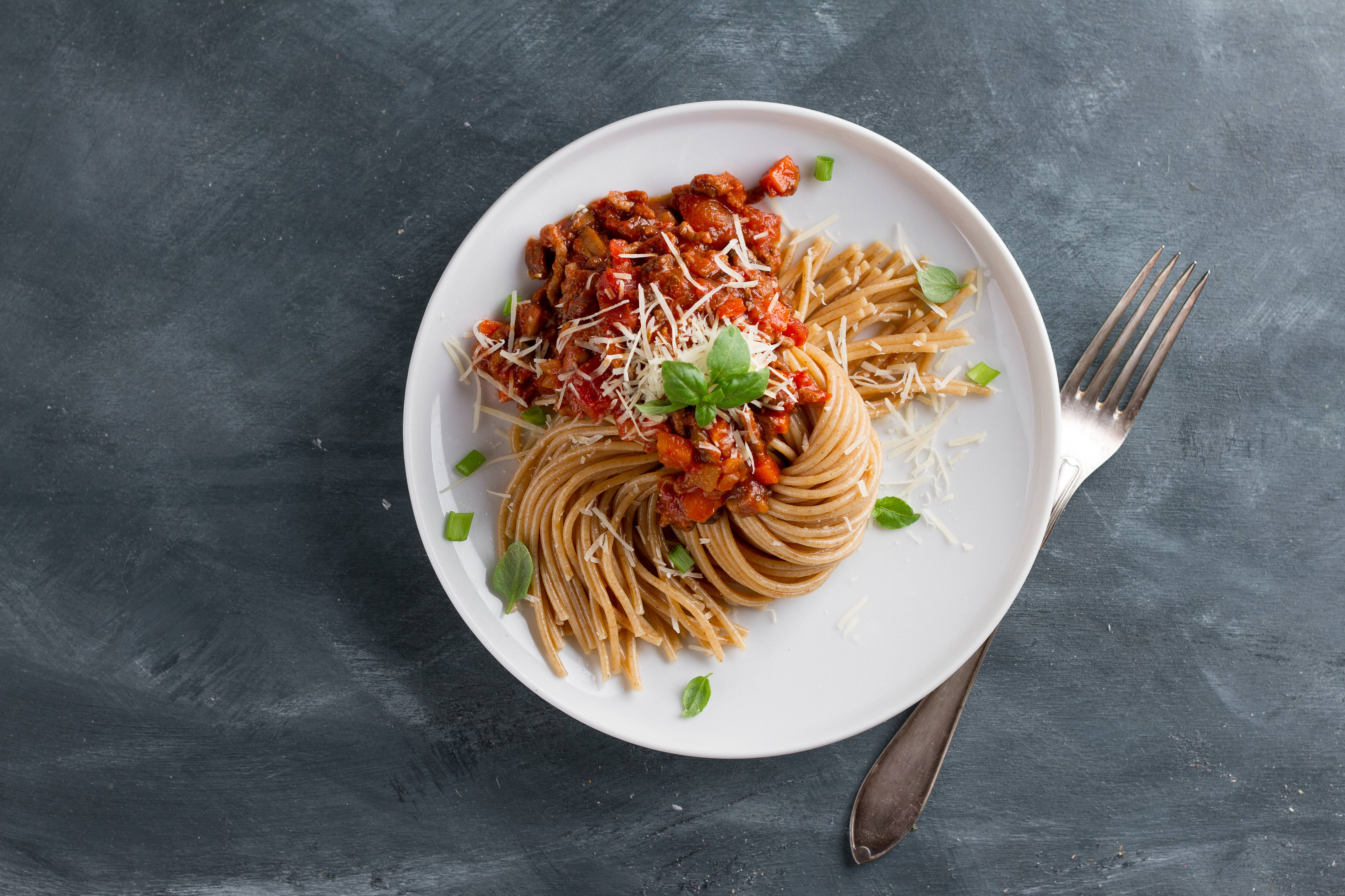 recipe image Spaghetti Bolognese with sundried tomatoes and parmesan